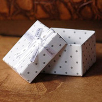 Jewelry Boxes   Free Shipping 48pcs lot 5x5cm Dots White Paper Jewelry Ring Earring Gift Box case