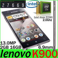 5.5 Android 2G Free DHL Shipping Lenovo K900 Intel Atom Z2580 Quad Core Smartphone 2.0Ghz 5.5 inch FHD 1080P 2GB 16GB 13.0MP K900 GPS 3G Phone