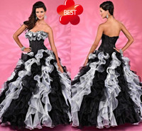 Wholesale DN Black And White Pick Ups Quinceanera Dresses Sweep Train Ball Gown Flowers Edge Strapless Lace Up Designer Cupcake Gowns For Girls