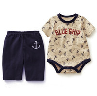Wholesale Summer Baby Boys Clothing Sets Short Sleeve Sailor Suit Tops Shirts Middle Pants Suits Leisure Dual Use Outfits Clothes New C1089
