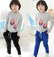 Wholesale 2014 Spring New Arrival Children Girls Boys Boxing Gloves T shirt Haren Loosen Pants Kids Clothing Set B2891