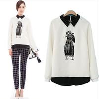 Wholesale Spring Fashion Turn down Collar Eagle Printing Kint Jersey Shirt Womens Pullover Sweatshirt