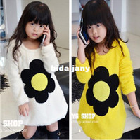 Wholesale Girls sweater Lovely Sunflower clothes Children Thicken Woollen Sweater Long Sleeve Tops Kids Winter Clothing Garment