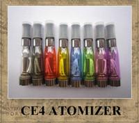 CE4 atomiseur 8 couleurs disponibles 1,6 ml 2.4ohm 4 mèches aucune fuite mathématiques avec batterie eGo e-cig CE4 Clearomizer