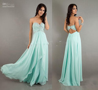2014 crystal Prom Dresses mint green A- Line Sweetheart Appli...