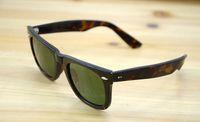 Wholesale New Hot item High Quality Plank Sunglasses Tortoise Frame glasses glass Lens Green Lens Sun glasses beach sunglasses Mens Womens glasses