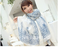 Wholesale WS001 Min order is mix order High quality Blue and white porcelain scarf silk scarf cape chiffon for women flower scarf