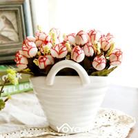 Wholesale White porcelain vase artificial flowers set QQ rose flower ceramic vase set