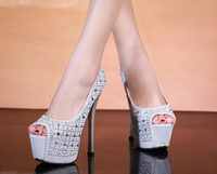 Women Pumps Stiletto Heel Brand New Women Silver Black Glitter Prom Wedding Shoes Ultra High Platform Dress Shoes