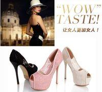 Women Pumps Stiletto Heel Hot Sale Fashion Bride White Wedding Lace Shoes Peep Toe High Platform Stiletto Heel Pink Black Prom Pump Shoes