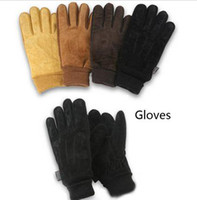Wholesale Warm winter casual for rider sport fashion men outdoor leather knitted gloves motorcycle racing XXL black coffee