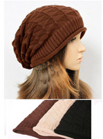 Wholesale Winter women knitting set of head cap fashion color beanie girls fall leisure hat and caps keep warm