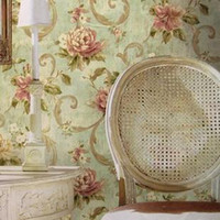 Classic Paper Wallpapers Waterproof Wholesale - Non-woven American retro pastoral flowers wall paper roll for bedroom,elegant flower tapete for girls