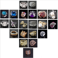 Wholesale Mixed Style Fashion Jewelry Silver CZ Austrian crystal gemstones diamond Deluxe bridal wedding rings