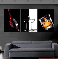 Fashion decorative glass art - 3 Panel Hot Sell Modern Wall Painting Home Decorative Art Picture Paint on Canvas Prints Glittering and translucent glass and delicious wine