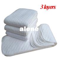 al por mayor pañales insertos-Pañales para bebés pañales de tela reutilizables lavables 3 capas de pañales Pañales para bebés super-absorbencia Pañales de microfibra Liners