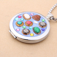 Wholesale Women Locket Necklace Crystal Colorful Stone Pendant Necklaces Box Chain Jewelry Accept Dropshipping