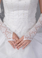 Wholesale Ivory cm Fingerless Satin Lace Bridal Wedding Gloves opera r37 u7 yo6