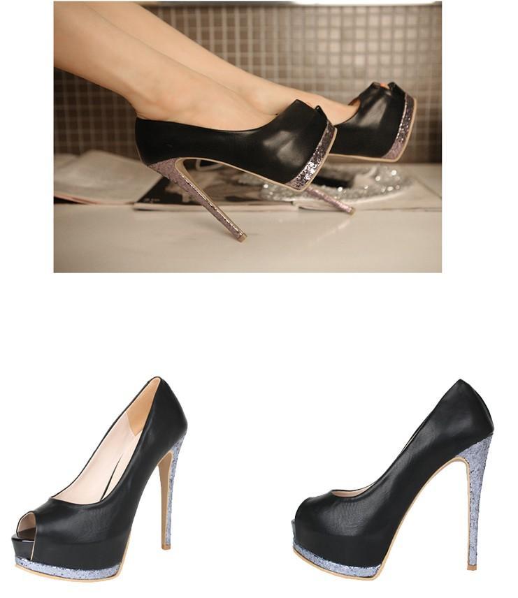 Women pink black yellow pu high heeled shoes fish head for Fish head shoes