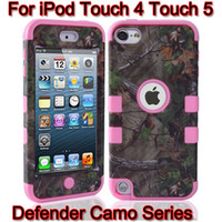 Wholesale 6Colors Defender Realtree Camo Serie Case For iPod Touch Touch5 Touch4 Touch Shock Proof Cases Hybrid Plastic Shell With Silicone Skin