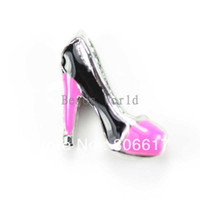 Wholesale Origami Owl Floating Charms for Living Locket Pink Black Enamel High Heeled Shoes x6mm Nail Art W02873 X