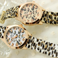 Wholesale Geneva leopard Pattern silicone jelly watches rose gold gel leopard print watch New