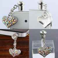 Wholesale 20PCS Heart Shape Dustproof Plug Antique Silver Plated With Pave AB Crystal Rhinestone For Mobile Phone Iphone Dust Plug Findings