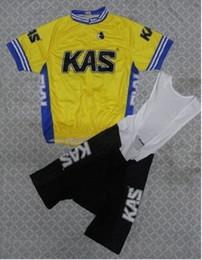 2014 KAS YELLOW SHORT SLEEVE CYCLING JERSEY SUMMER CYCLING WEAR + BIB SHORTS SET SIZE:XS-4XL K024