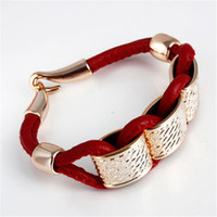 Wholesale Charm Leather Bracelet Fashion Jewelry CCB Plastic Beads Pendant Couple Bracelets Best Gift