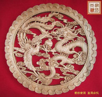 Cheap Wholesale - Dongyang wood carving crafts chinese style antique furniture camphor wood wall hanging dragon and phoenix play bead