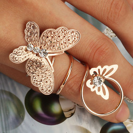 Wholesale Butterfly Ring Wedding Rose Gold Silver Plated Rhinestone Rings