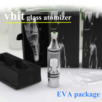 Wholesale Vhit Glass tank dry herb atomizer wax Vapor electronic cigarettes with metal drip tip straight tube glass rebuildable glass atomizer EVA