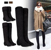 Wholesale Lowest Price Fashion Women Spring and Autumn Boots Elastic Knee Length Long Barreled Boots Women s Flock Shoes