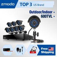 Box/Body 8  Wholesale - Zmodo 8CH home CCTV Surveillance System with 8 Outdoor indoor 600TVL High Resolution Security bullet alarm Cameras 1TB HD