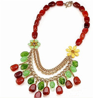 Wholesale Retro Pastoral Style Necklace Turquoise Carnelian Chain Charm Statement Necklaces Best Gift