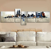 Cheap Wholesale - Hand Painted 5 Panel wall Art Set Night New York City Landscape Oil Painting Modern Abstract Piece Home Decoration Wall Pictures