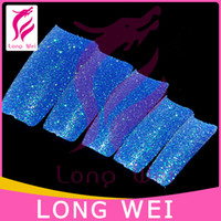 Wholesale Boxes Blue Glitter Fake Nail Tips False Matte Nail Pre Design Tip With Box