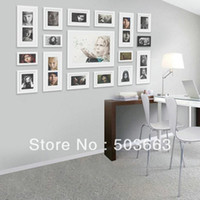 Cheap Wholesale - 2013 Fashion 17 Pcs White Solid Wood Combination Wall Mounted Picture Photo Frame foam Art Home Decor L-A54