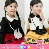 t-shirt bags - children clothes spring girls Cartoon cat T shirt bag skirt leggings suit set dandys