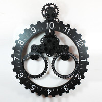 Mechanical   Wholesale - Clock trigonometric big gear clock calendar ring gear clock fashion vintage machinery