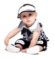 Wholesale Summer Baby Amissa Boys Navy Striped Bow Vest T shirt Pants Newborn Infant Toddler Kids Piece Suit Children s Outfits Sets