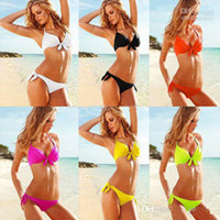 Women Bikinis Pure Colour Sexy Women's Push UP Swimwear Bowknot Cup Bikini Padded Quality Bathing Suit Top & Bottom Swimsuit Bathing Suit Swimming wear