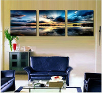 Yes Impressionist No Free shipping 3 Panels Living Room Decorative Canvas Painting Modern Huge Picture Paint Print Art beach sunset painting