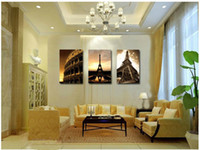 Yes Classical No 3 Piece Wall Art No Framed Modern Oil Painting On Canvas city impression decorative wall art panels Prints