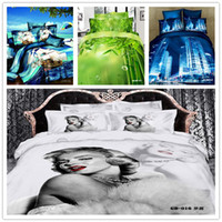 Twill Woven Comforter Set Wholesale - 6 PCS Free Shipping 3D printed Fitted Sheet (Rubber Around) bed linen