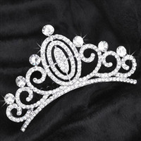 Wholesale Wedding Bride Crown Silver Alloy Rhinestone Luxury Style High Quality Wedding Jewelry