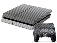 Wholesale Carbon Fibre Decal Skin Stickers Wrap For PS4 Play Station Console Controllers Silver