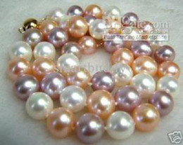 GENUINE NATURAL 10-11MM SEA SOUTH NATURAL MULTICOLOR PEARLS NECKLACE 14K 19INCHES