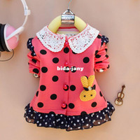 Cheap girls kids jackets children's coats outerwear wholesale S-XL 4pcs lot polka dot infant winter lothing hot sale 2014 outfits