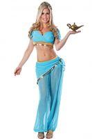 Superhero Costumes arabian nights costumes - Sexy Womens Jasmine Or Belly Dancer Arabian Nights Costume Princess Genie Halloween Costume G8748